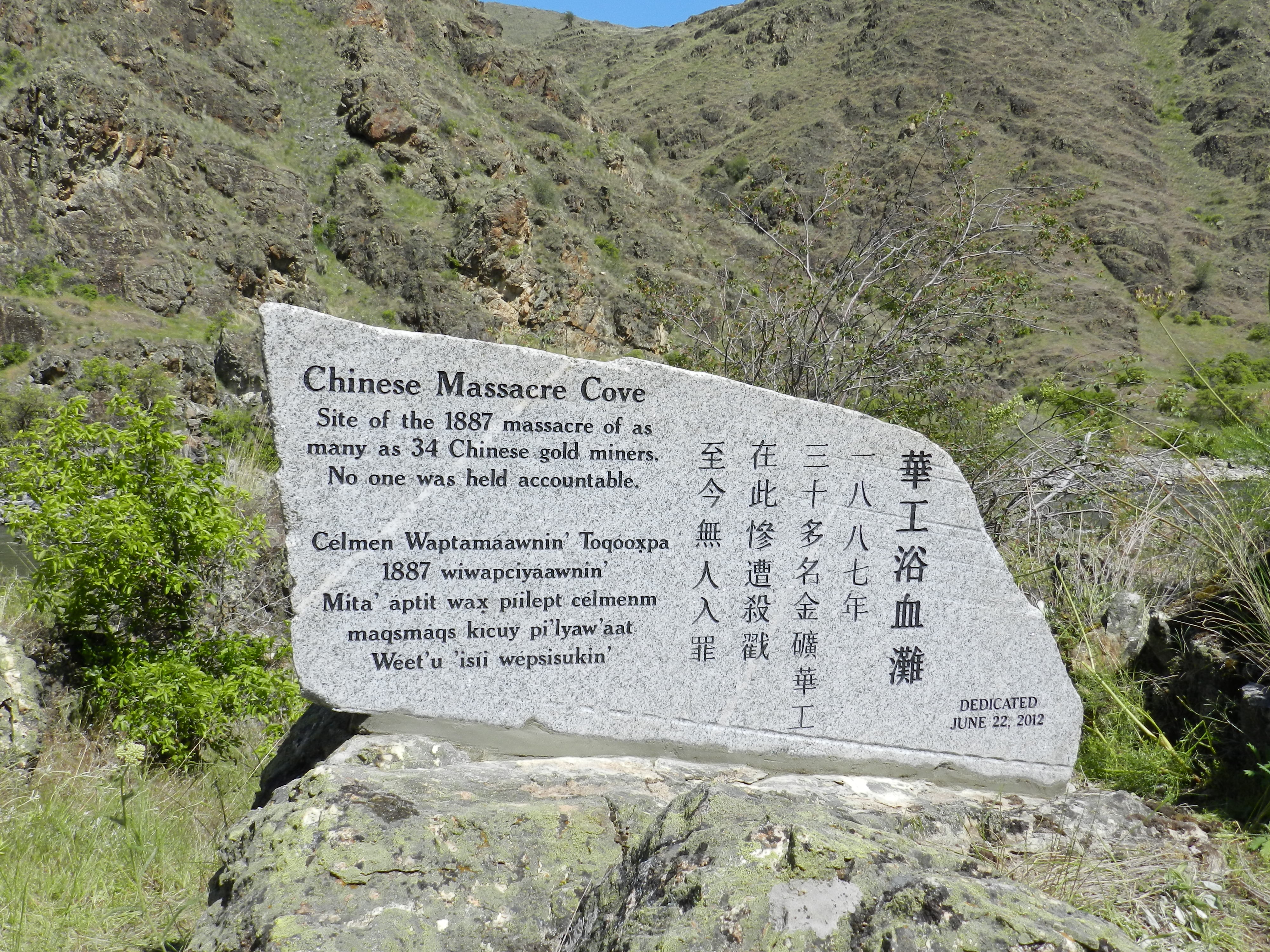 Massacre in Hells Canyon to be marked in stone at Chinese Remembering 2012