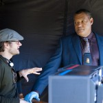 """Bryan Fuller on the set of """"Hannibal"""" with actor Laurence Fishburne."""
