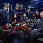 """The cast of """"Hannibal. """"Pictured: (l-r) Hugh Dancy as Special Agent Will Graham, Caroline Dhavernas as Dr. Alana Bloom, Laurence Fishburne as Agent Jack Crawford, Aaron Abrams as Brian Zeller, Lara Jean Chorostecki as Freddie Lounds, Hettienne Park as Beverly Katz, Scott Thompson as Jimmy Price, Mads Mikkelsen as Dr. Hannibal Lecter -- (Robert Trachtenberg/NBC)"""
