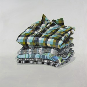 Michelle Forsyth painted and weaved pieces for her Kevin's Shirts collection.