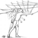 An atlatl is a primitive throwing device that was more efficient than a hand-thrown spear.