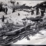 A picture thought to be from February 25, 1917 of the avalanche that destroyed a bunkhouse at the North Star mine.  (The Mallory Collection, Hailey, ID)