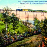 A early 20th century postcard shows the Camas Prairie Railroad's 1500-foot long steel Lawyers Canyon Bridge between Craigmont and Ferdinand.