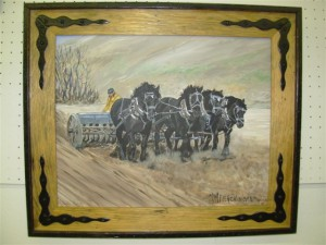 """BMAG President Mary Flerchinger's painting of horses in a field is part of an 8-week exhibit called """"Pioneer/Historical."""""""