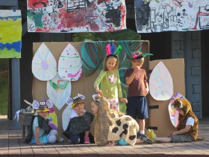 "Idaho Repertory Youth Theatre students, grades K-3, perform a play based on an African myth on the outdoor stage in last year's session, ""Acting the Story: Tales from Around the World."""
