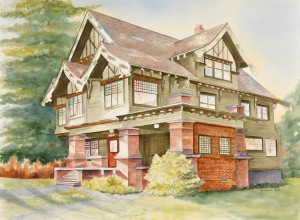 Gabriella Ball will have paintings featured at both the Prichard Art Gallery and the Moscow Chamber of Commerce. Above, is her painting of the Mark P. Miller home, circa 1911.
