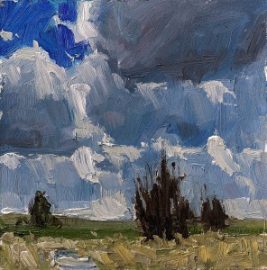 "Aaron Johnson's oil painting ""Afternoon Clouds"" was selected for the 2013 Moscow Artwalk cover."