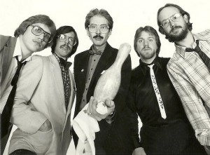 From left to right, Cliff Miller, Bill Willoby, Mark Lamoureux, Dale Keeney, and John Colby made up the original Kingpins in 1983. The Fabulous Kingpins are celebrating their 30th anniversary Saturday at Mingles Bar and Grill.