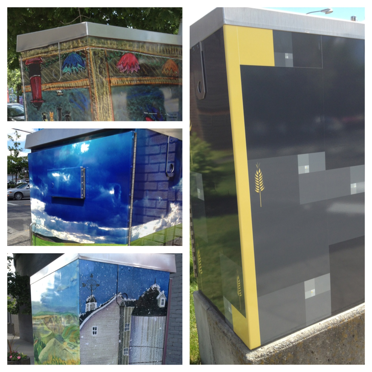 Traffic boxes decorated for Moscow Artwalk