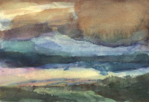 Sky Passion, 7-by-5 inches, is a watercolor on paper by Hosmer.