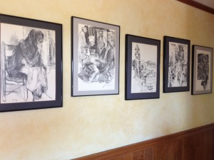 A drawing series hangs in the Lindens home, drawn by Robert Feasley from inspiration whilst traveling in Spain.