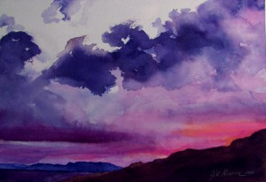 Hosmer's The Gift of Sunset is a 7-by-10-inch watercolor on paper.