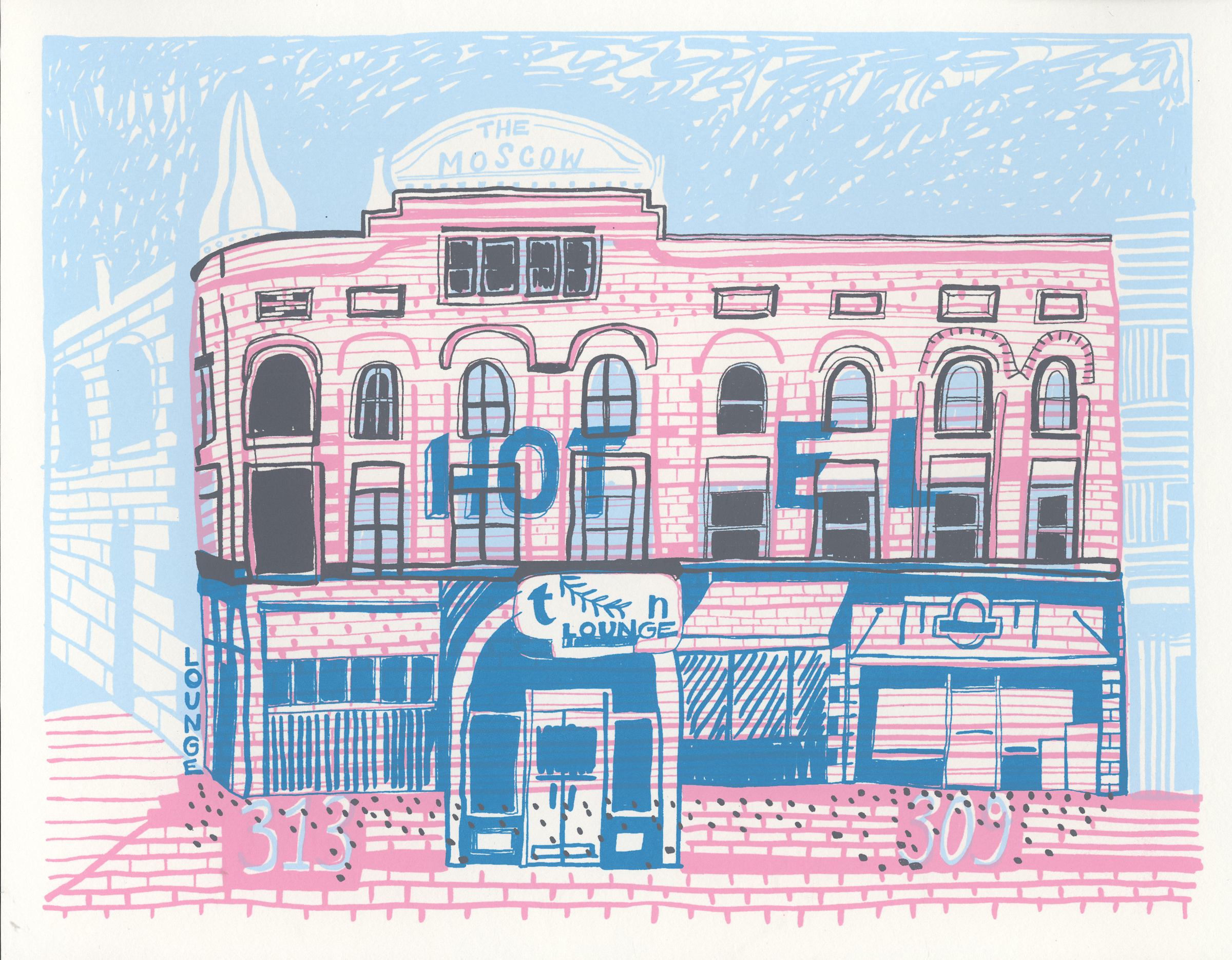 Ghosts in the goodbye sky:  Moscow resident brings old buildings to life through drawings, screen prints
