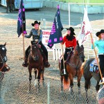 Candidates for the 2014 Lewiston Roundup royalty (L to R) Kara Weiss of Kendrick, Kim Lawrence of Moscow, McKenzie Sailer of Lewiston and Moresa Graham of Lewiston prepare for the arena drills they performd Monday for judging.