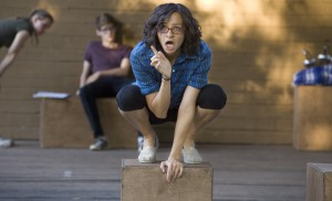 """Hamlet, played by Adriana Sanchez, questions the behavior seen from his mother after the death of his father during rehearsal of the Moscow Art Theatre (Too) production of Shakespeare's """"Hamlet"""" in East City Park on Wednesday, Aug. 7 in Moscow."""