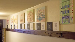 "Kristin Carlson Becker's ""Good(bye) Buildings"" Moscow artwork is on display in the Moscow Yoga Center, as seen Aug. 8."