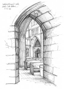 Carrie Vielle, known for her mixed media art, has been drawing with perspective for more than 25 years. While workshop attendees may not be able to capture perspective the way Vielle did in this drawing of the interior of the Spokane, Wash., St. John's Cathedral, Vielle said students will learn the basics of what's called one-point and two-point linear perspective.