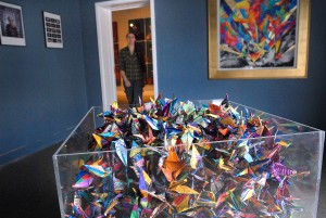 """1,000 Paper Cranes"" by artist Sara Steele is on display at the LCSC Center for Arts and History."