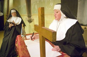 "Geoff Crimmins/Daily News Darcy Eliason as Mother Abbess, right, and Elena Panchenko as Sister Berthe talk  in a scene from the Regional Theatre of the Palouse's production of ""The Sound of Music."""