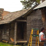 This cabin, one of several historic structures at White Spring Ranch, was built in 1876 and still has its original roof.