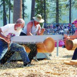 Competitors saw a log in a 2012 jack and jill competition in Orofino.
