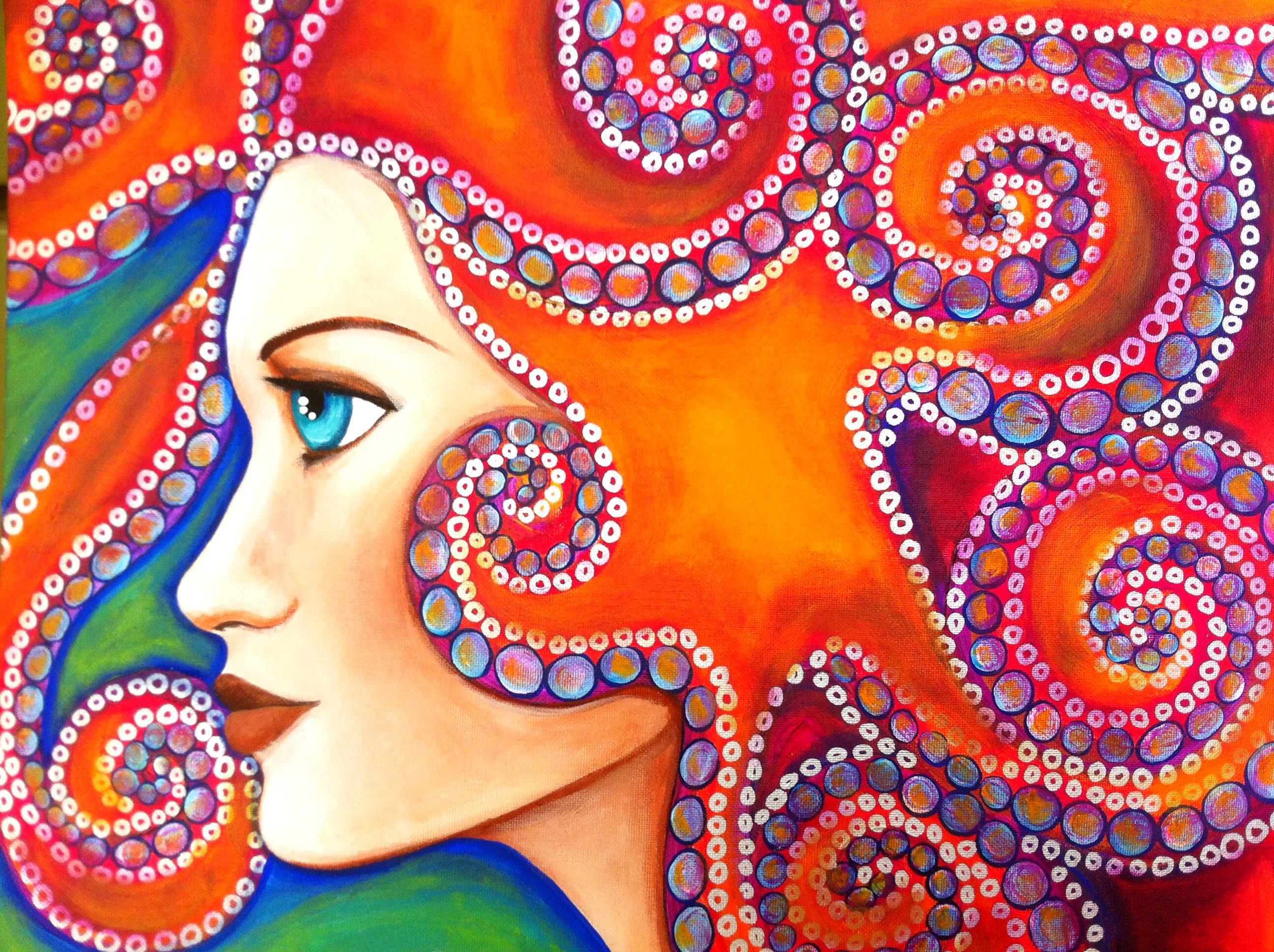 The strength of the feminine: Lewiston artist paints images of women, creates mosaics