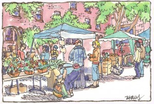 "Bobbi Kelly's ""Farmers Market"" will be one of many painting at an exhibit at the Latah County Fairgrounds."