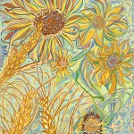 """""""Sunflowers and Wheat,"""" by Russell, was inspired by her native Palouse landscape."""