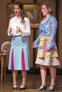 "Countess Almavia, left, played by Rachael Lewis, and her chamber maid Susanna, played by Kate Johnson, discuss a problem during rehearsal of the University of Idaho Opera's modernized and sung in English production of Mozart's ""The Marriage of Figaro"" on Sunday, Nov. 10, 2013, at the Administration Building auditorium in Moscow."