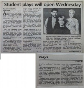 """""""Substances of All Things Hoped For"""" debuted 25 years ago, as seen in this Nov. 11, 1988, Lewiston Tribune news clipping."""