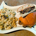 Roast beef melt with jalapeno chicken mac & cheese. The side dish is one of the restaurant's best sellers.