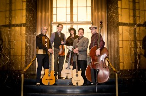 Paul Mehring, Evan Price, Isabell Fontaine, Jeff Magidson and Clint Baker are the Hot Club of San Francisco.