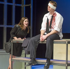 """Kayleen, left, played by Kayla Cole, yells at Doug, played by Tyler Elwell, during rehearsal of the University of Idaho Theater Department production of """"Gruesome Playground Injuries"""" at the Hartung Theatre on Tuesday, Jan. 28, in Moscow."""