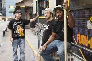 Jack Brown, lyrics and vocals, Adam Gold, keyboard, bass and vocals, and Emanuel Washington, drummer, make Sophistafunk.