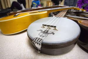A banjolele is seen in a gathering of ukeleles owned by members of the Ukelele Players of the Palouse during practice Thursday at Simpson United Methodist Church in Pullman.