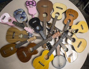 Ukeleles owned by members of the Ukelele Players of the Palouse are gathered together to show the variety of instruments that can be purchased and played during practice Thursday, Jan. 23, 2014, at Simpson United Methodist Church in Pullman.