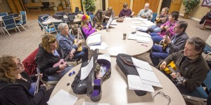Members of the Ukelele Players of the Palouse practice Thursday at Simpson United Methodist Church in Pullman.