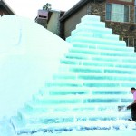 This pyramid was built from 200,000 pounds of ice from Payette Lake. (Photo Jennifer Bauer)