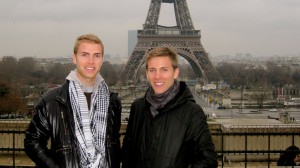 "Shane Bitney Crone and Tom Bridegroom pose in Paris. The two vowed to see the Seven Wonders of the World together. Crone filmed ""It Could Happen to You"" after Bridegroom's death in 2011."