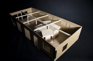 "A model of ""Oblique Interactions,"" an art installation in Uniontown's Dahmen Barn."