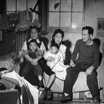 Yamaguchi family in their room at Minidoka in December 1944. Permission of wing Lyuke Asian Museum.