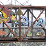 Melissa Cole's giant mosaic on the pedestrian bridge at the Fifth St. and levee bypass intersection was installed by the artist in 2012.