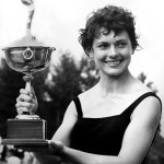 "Bette ""Ellis"" Jordan holds one of her many trophies won by birling."