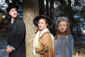"""In the University of Idaho production of """"The Cherry orchard,"""" Cory Williamson (left) plays Lopakhin, a peasant who aspires to upward mobility, Emily Nash (center), plays Lyubov Ranevsky, a landowner fallen on hard times and Courtney Biggs plays Anya, Lyubov's 17-year-old daughter."""