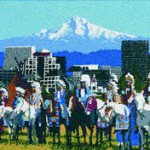 "Marcus Amerman's ""The Gathering,"" a beaded portrait of Nez Perce elders from the past against the modern Portland skyline, is in the Portland Art Museum's permanent collection."