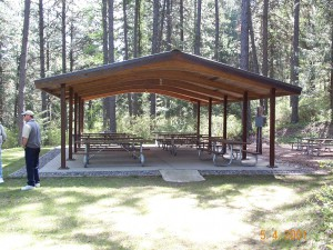 The picnic shelter at Kamiak Butte was built using Larch wood.