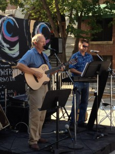 Jon Anderson and Rand Walker play a fundraiser for the Idaho Repertory Theatre in 2012 in Friendship Square in Moscow.