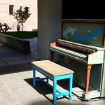 The first of three outdoor pianos coming to downtown Lewiston sits near Brackenbury Square.