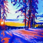 This pastel by Garfiled is a scene at dawn on Moscow Mountain.