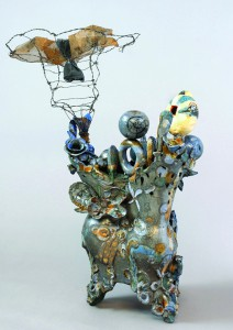 """""""Swing Shift"""" is a ceramic piece created in 2008 by Ann Christenson."""